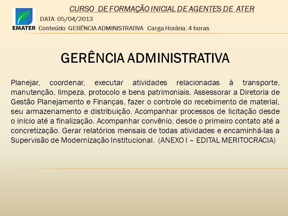 CURSO DE FORMAÇÃO INICIAL DE AGENTES DE ATER GERÊNCIA ADMINISTRATIVA