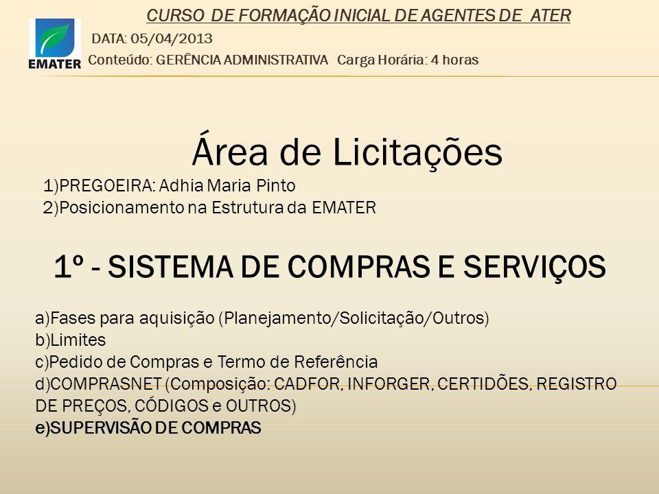 Área de Licitações 1º - SISTEMA DE COMPRAS E SERVIÇOS