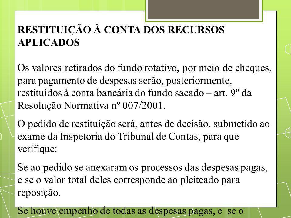 RESTITUIÇÃO À CONTA DOS RECURSOS APLICADOS