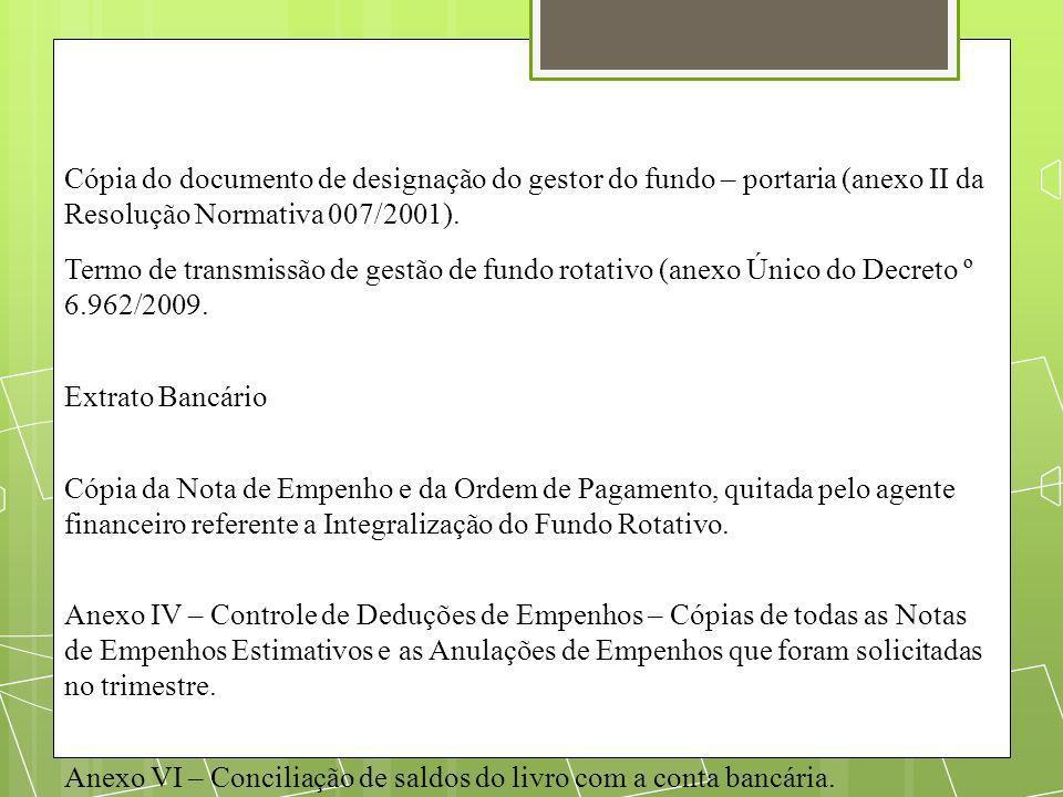 Cópia do documento de designação do gestor do fundo – portaria (anexo II da Resolução Normativa 007/2001).