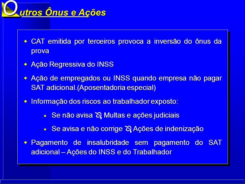O utros Ônus e Ações. CAT emitida por terceiros provoca a inversão do ônus da prova. Ação Regressiva do INSS.