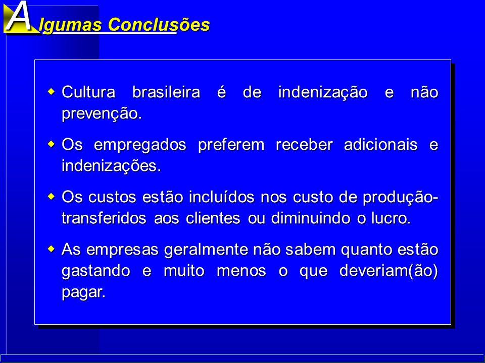 A lgumas Conclusões. Cultura brasileira é de indenização e não prevenção. Os empregados preferem receber adicionais e indenizações.