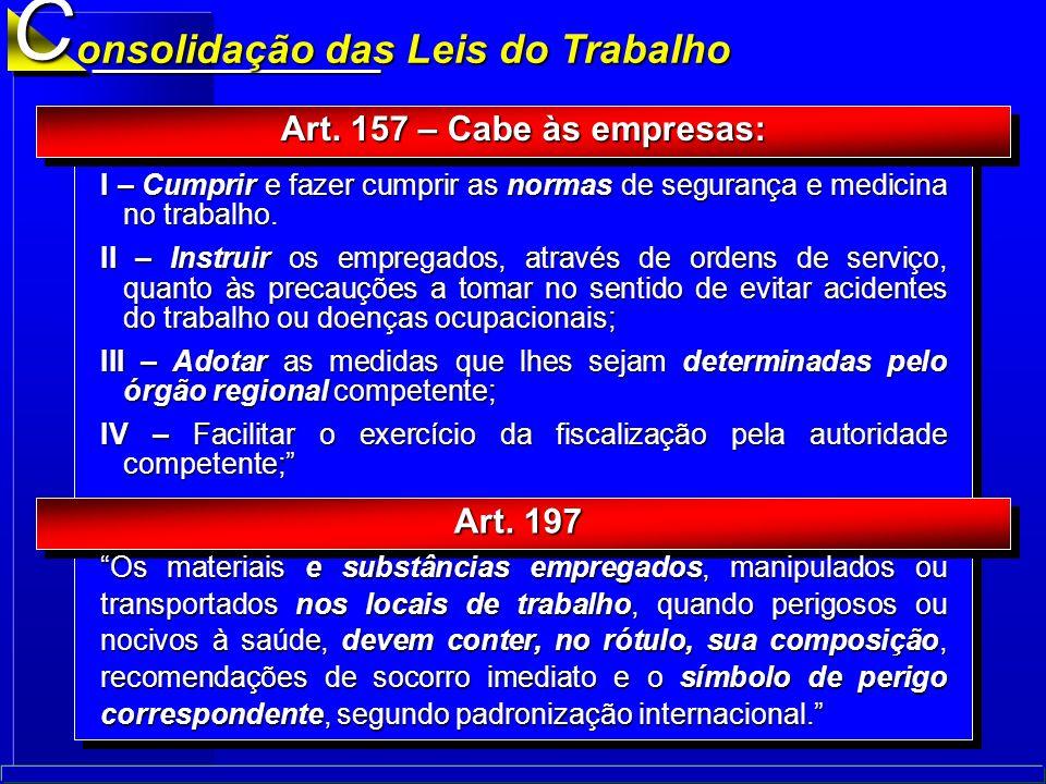 C onsolidação das Leis do Trabalho Art. 157 – Cabe às empresas: