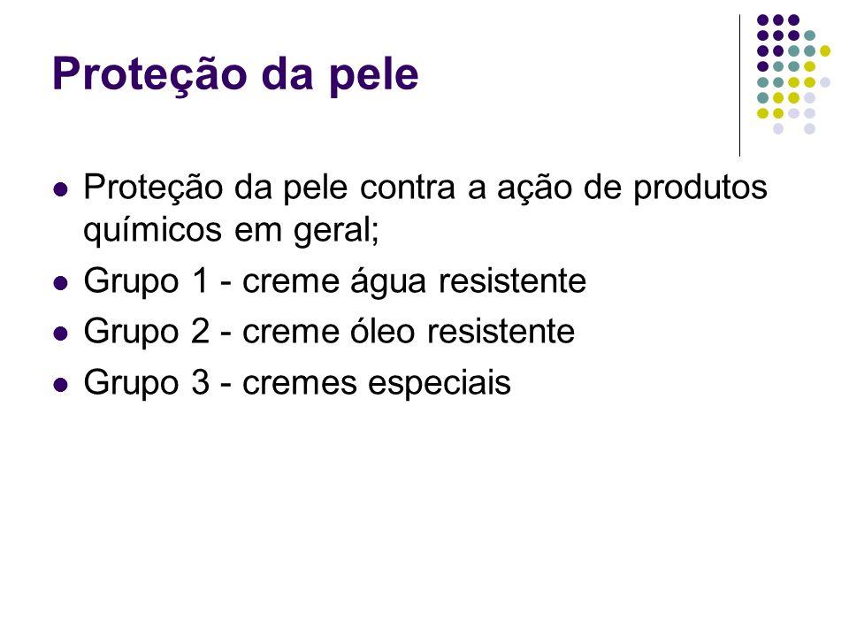 Proteção da pele Proteção da pele contra a ação de produtos químicos em geral; Grupo 1 - creme água resistente.
