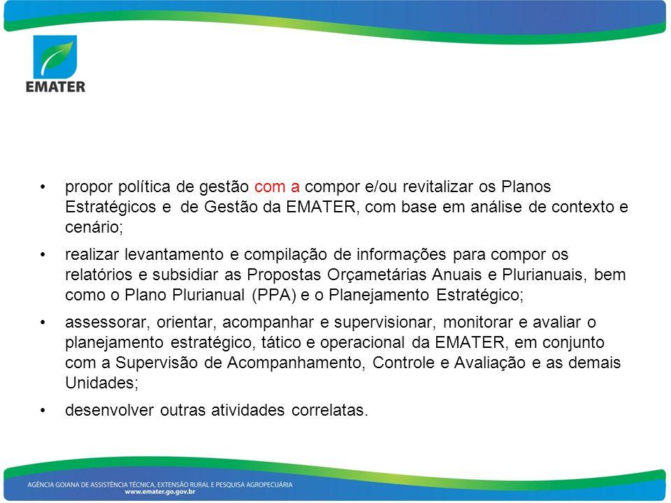 propor política de gestão com a compor e/ou revitalizar os Planos Estratégicos e de Gestão da EMATER, com base em análise de contexto e cenário;