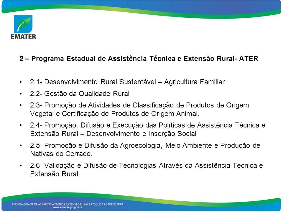 2 – Programa Estadual de Assistência Técnica e Extensão Rural- ATER