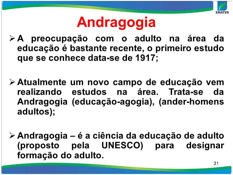 Andragogia A preocupação com o adulto na área da educação é bastante recente, o primeiro estudo que se conhece data-se de 1917;