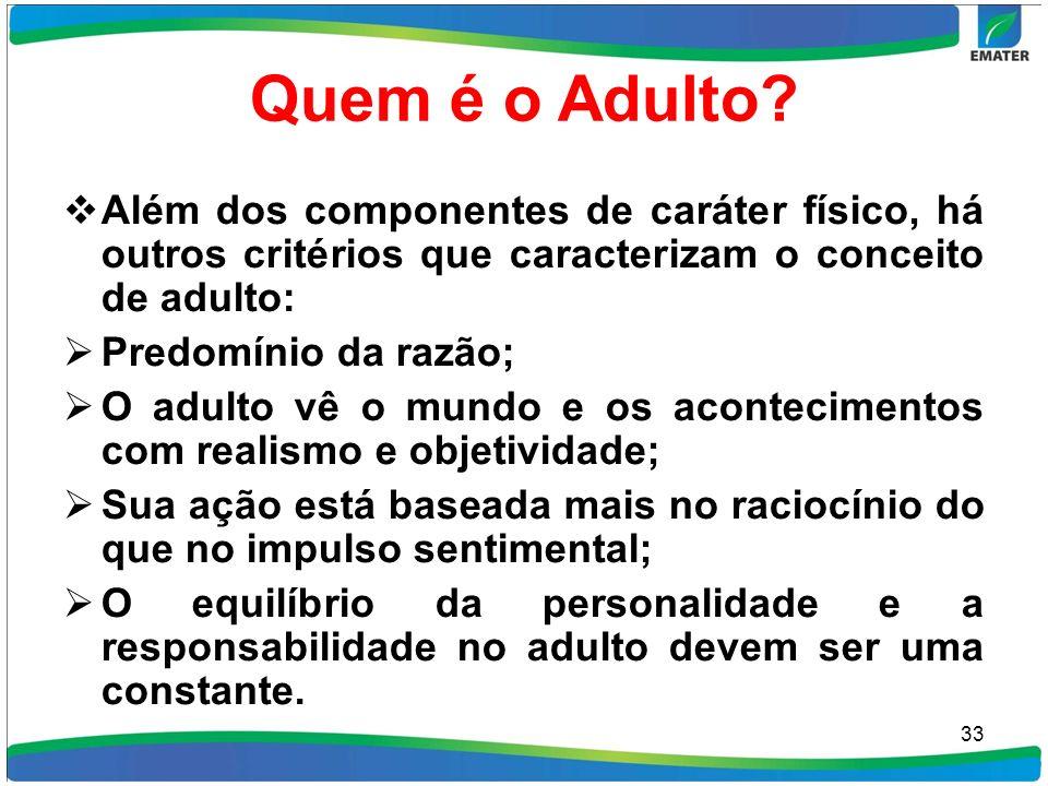 Quem é o Adulto Além dos componentes de caráter físico, há outros critérios que caracterizam o conceito de adulto:
