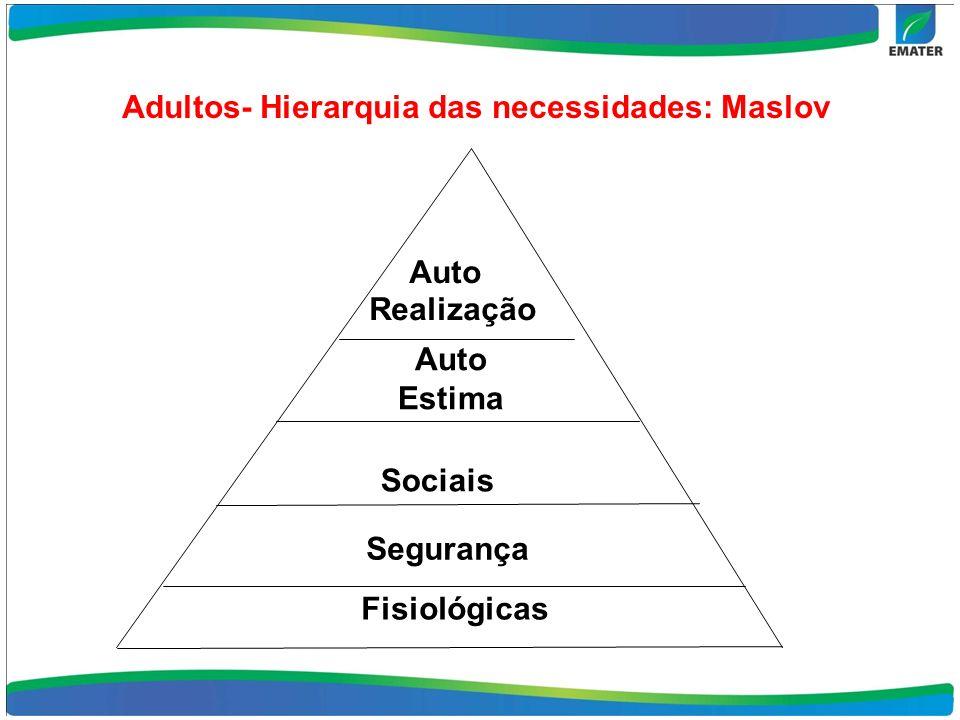 Adultos- Hierarquia das necessidades: Maslov