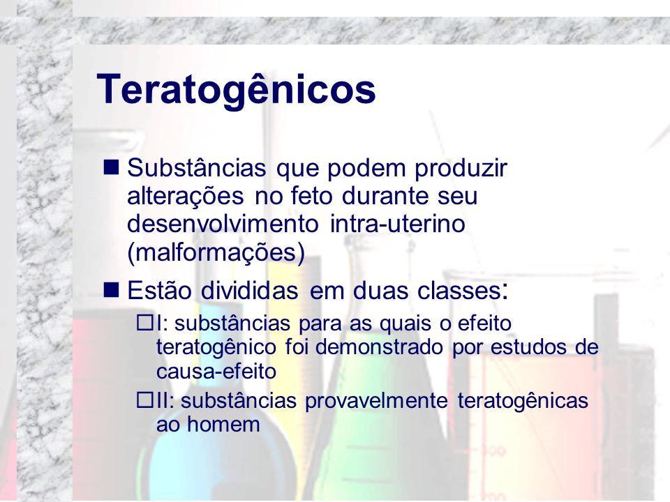 TeratogênicosSubstâncias que podem produzir alterações no feto durante seu desenvolvimento intra-uterino (malformações)
