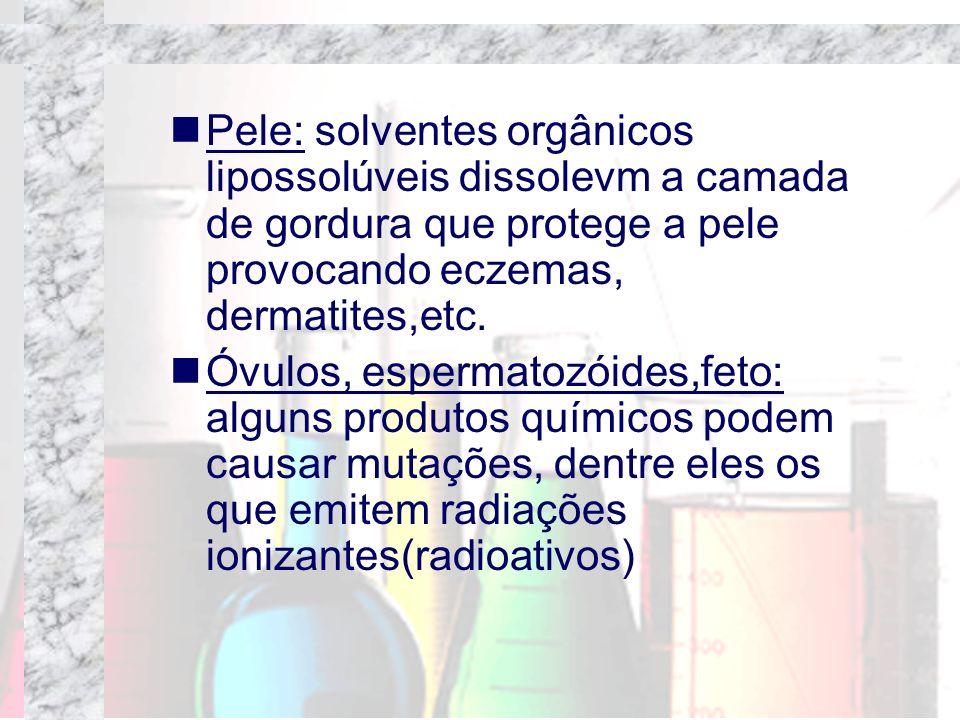 Pele: solventes orgânicos lipossolúveis dissolevm a camada de gordura que protege a pele provocando eczemas, dermatites,etc.