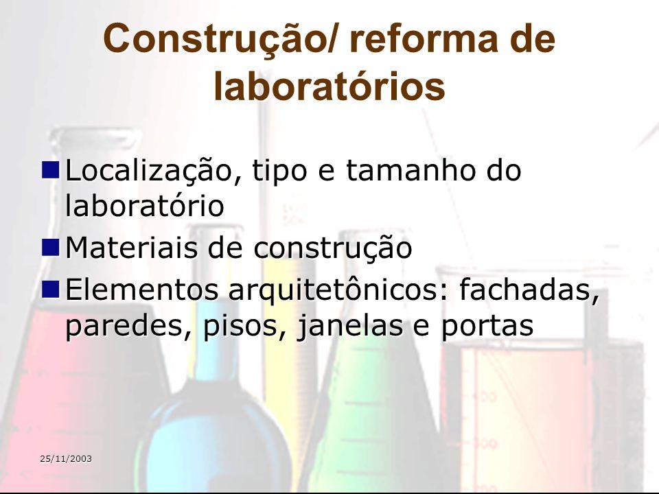 Construção/ reforma de laboratórios