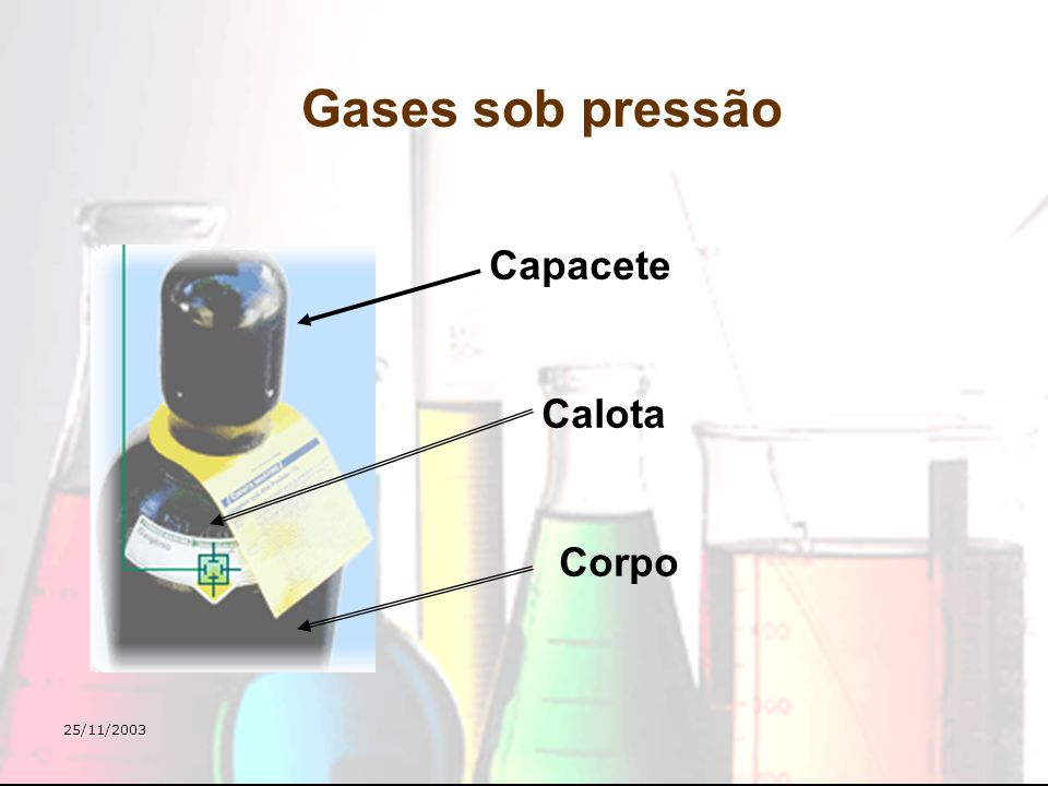 Gases sob pressão Capacete Calota Corpo 25/11/2003