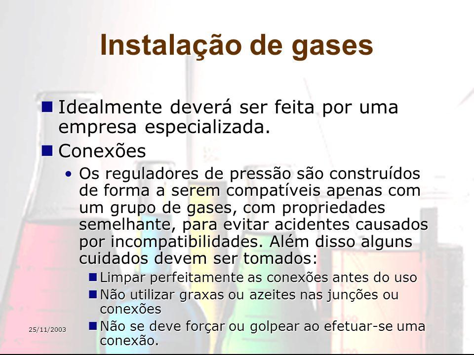 Instalação de gases Idealmente deverá ser feita por uma empresa especializada. Conexões.