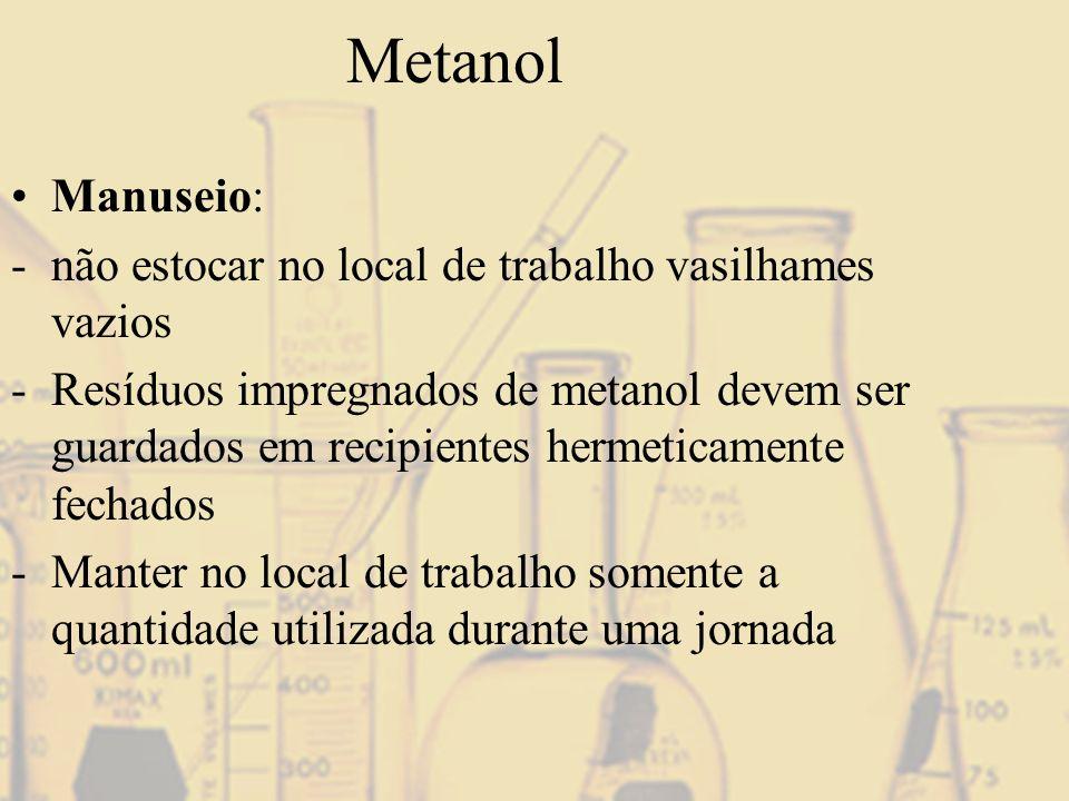 Metanol Manuseio: não estocar no local de trabalho vasilhames vazios