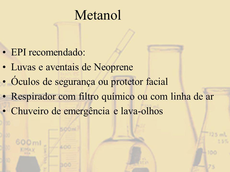 Metanol EPI recomendado: Luvas e aventais de Neoprene
