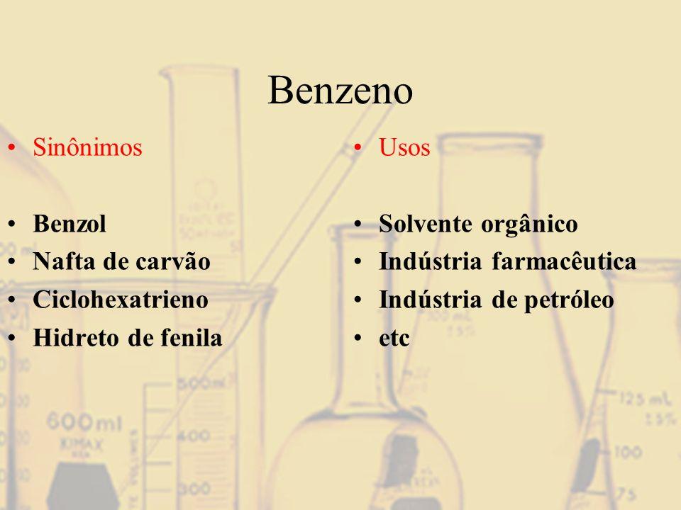 Benzeno Sinônimos Benzol Nafta de carvão Ciclohexatrieno