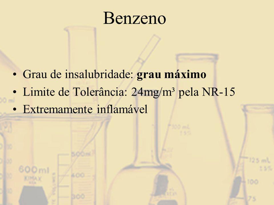 Benzeno Grau de insalubridade: grau máximo