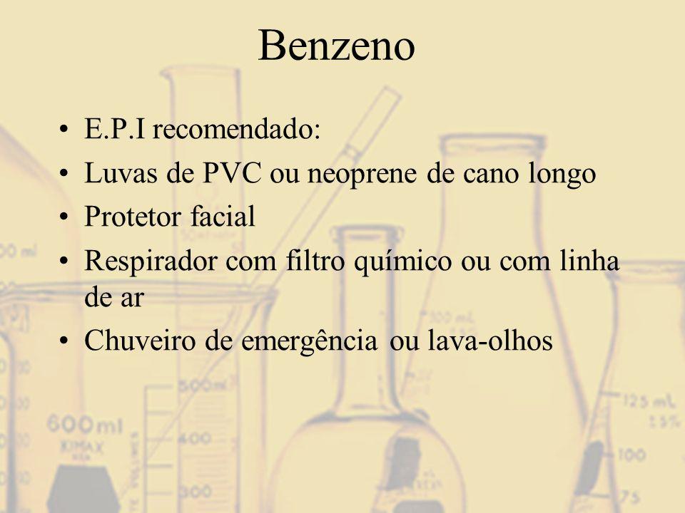 Benzeno E.P.I recomendado: Luvas de PVC ou neoprene de cano longo