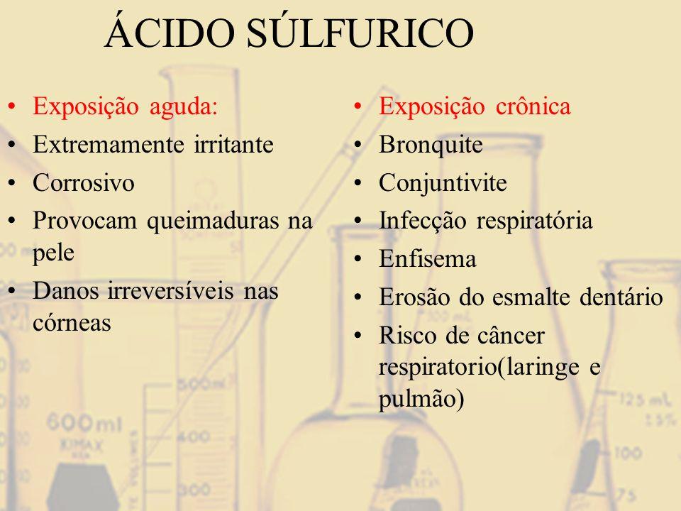 ÁCIDO SÚLFURICO Exposição aguda: Extremamente irritante Corrosivo