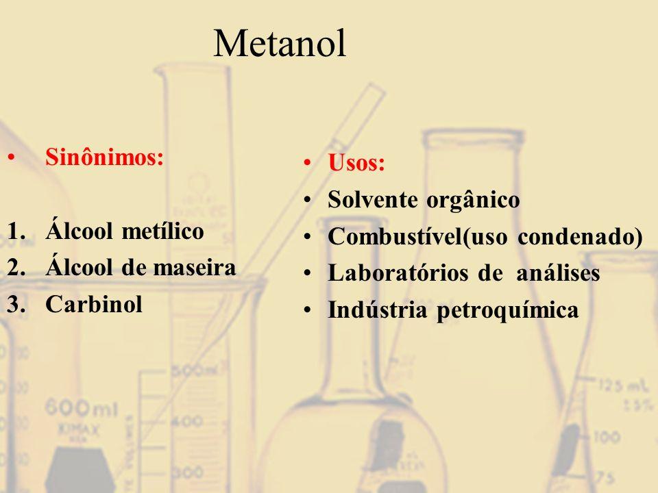 Metanol Sinônimos: Usos: Solvente orgânico Álcool metílico