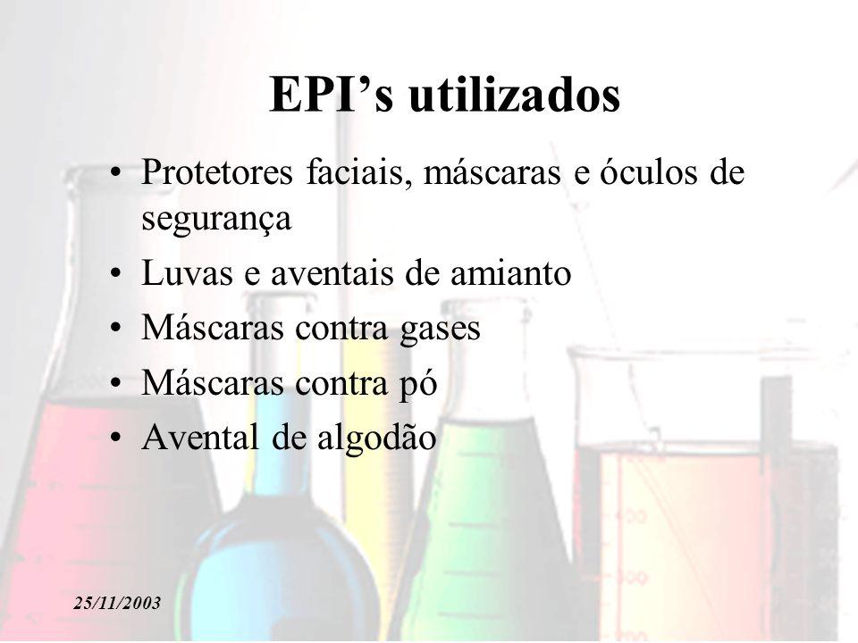 EPI's utilizados Protetores faciais, máscaras e óculos de segurança