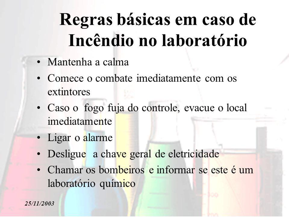 Regras básicas em caso de Incêndio no laboratório