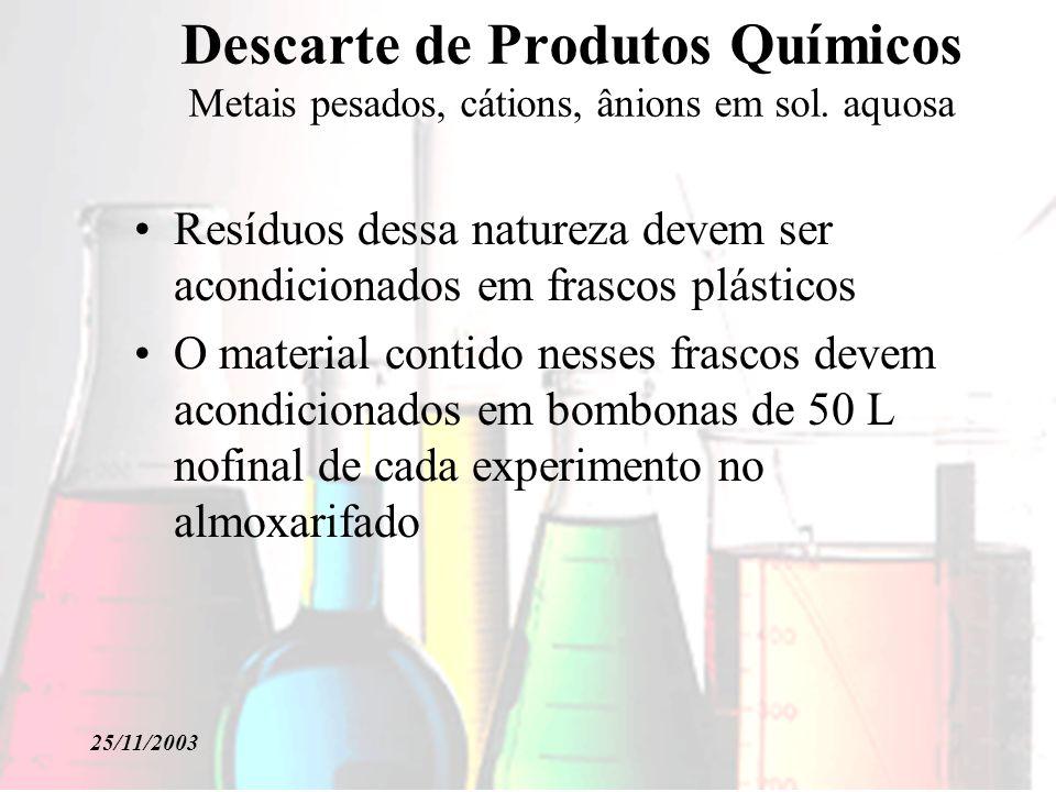 Descarte de Produtos Químicos Metais pesados, cátions, ânions em sol