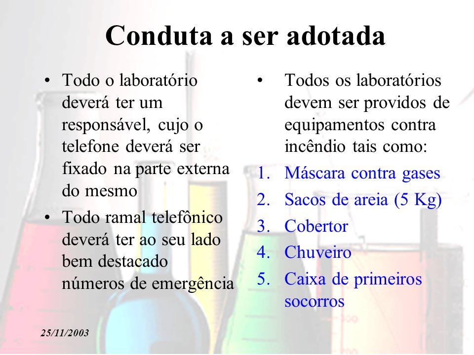 Conduta a ser adotada Todo o laboratório deverá ter um responsável, cujo o telefone deverá ser fixado na parte externa do mesmo.