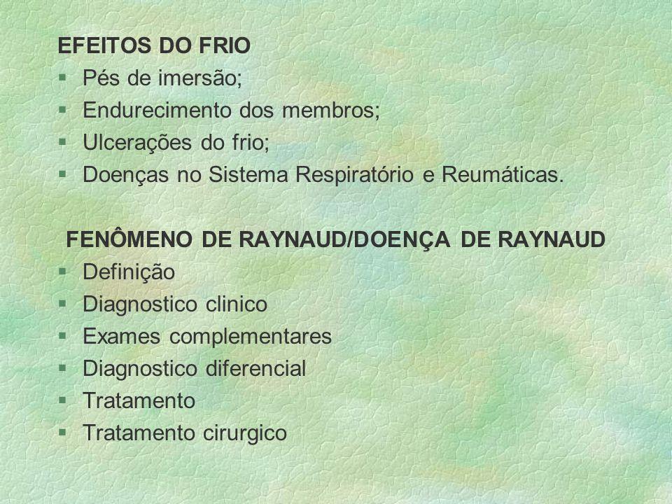 FENÔMENO DE RAYNAUD/DOENÇA DE RAYNAUD