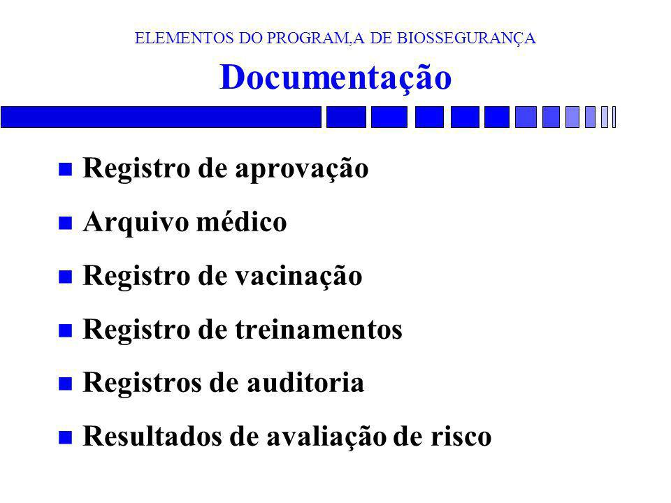 ELEMENTOS DO PROGRAM,A DE BIOSSEGURANÇA Documentação