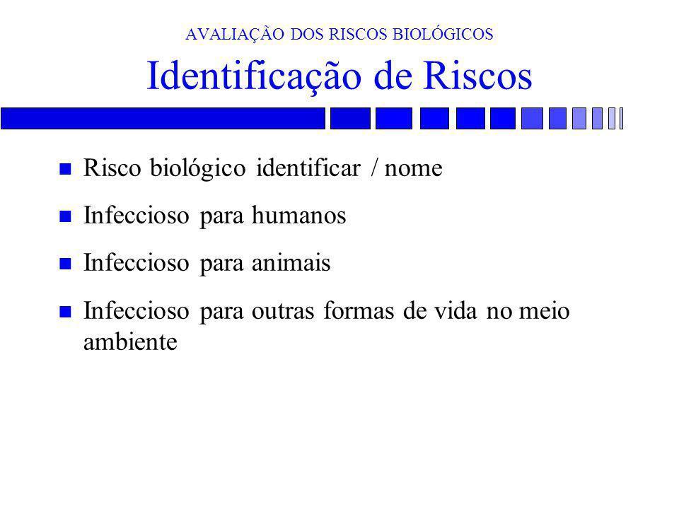 AVALIAÇÃO DOS RISCOS BIOLÓGICOS Identificação de Riscos