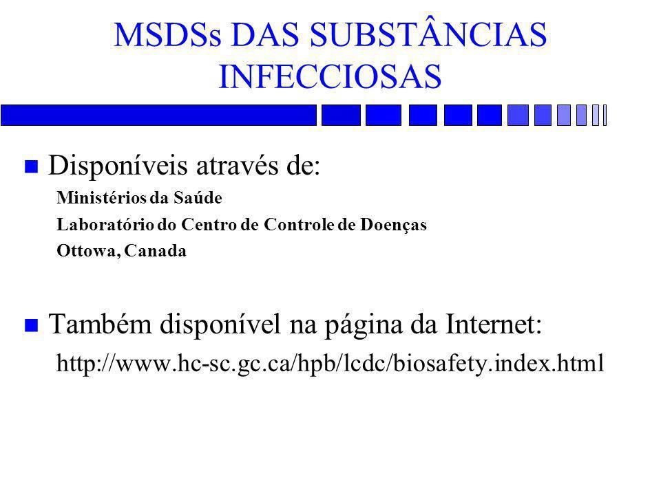 MSDSs DAS SUBSTÂNCIAS INFECCIOSAS