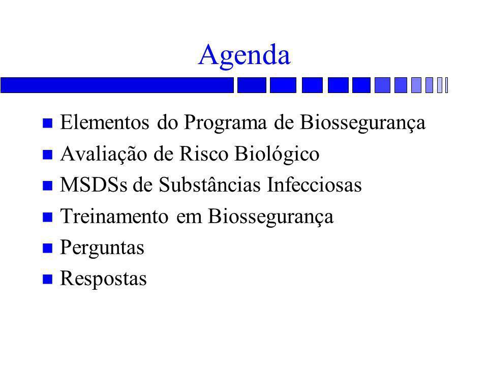 Agenda Elementos do Programa de Biossegurança