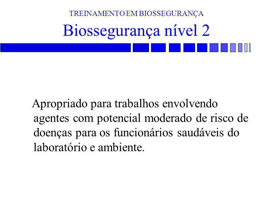 TREINAMENTO EM BIOSSEGURANÇA Biossegurança nível 2