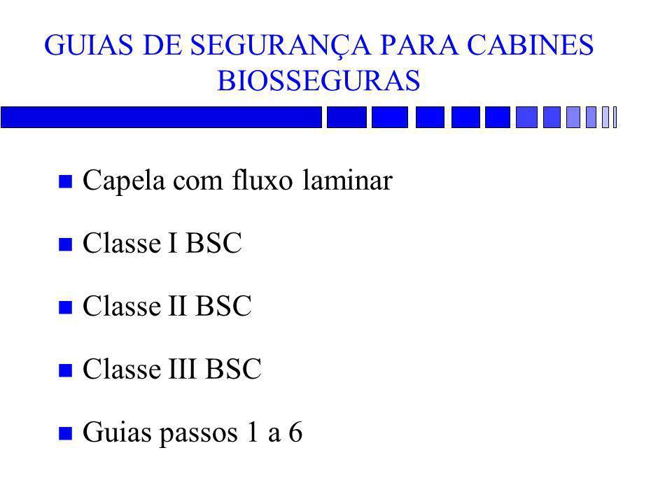 GUIAS DE SEGURANÇA PARA CABINES BIOSSEGURAS