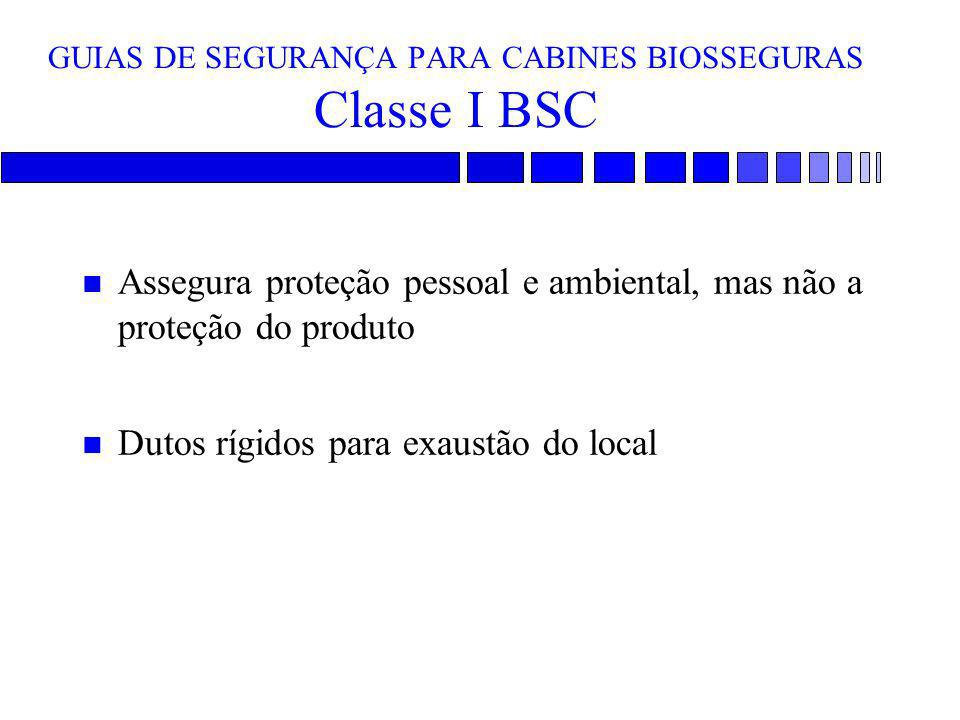 GUIAS DE SEGURANÇA PARA CABINES BIOSSEGURAS Classe I BSC