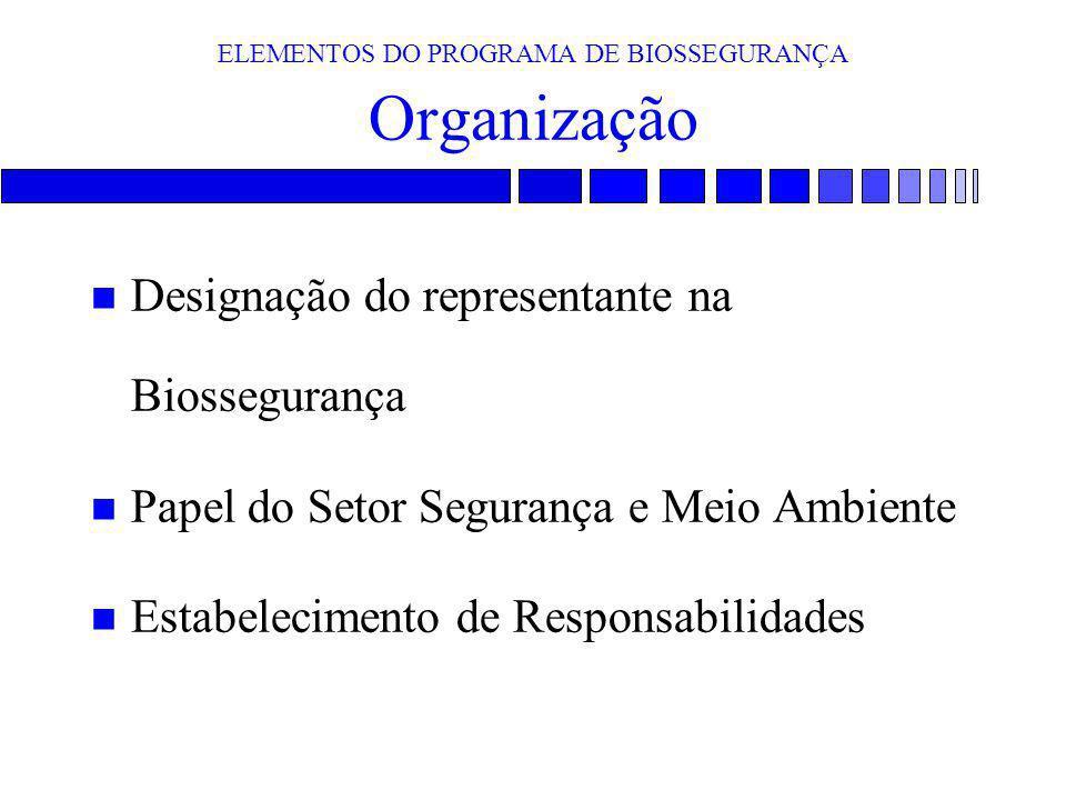ELEMENTOS DO PROGRAMA DE BIOSSEGURANÇA Organização