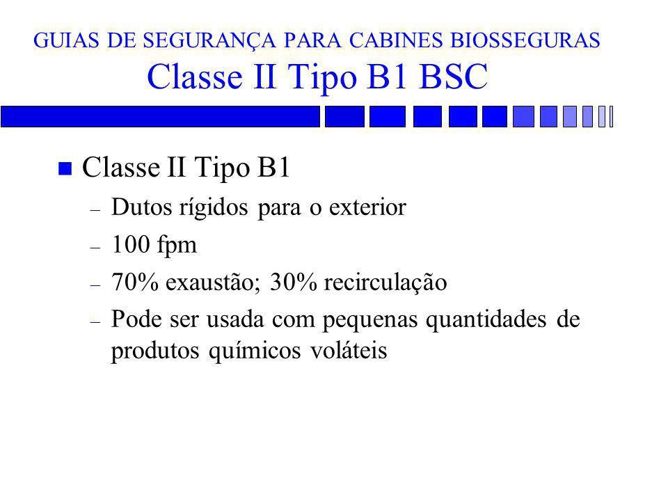 GUIAS DE SEGURANÇA PARA CABINES BIOSSEGURAS Classe II Tipo B1 BSC