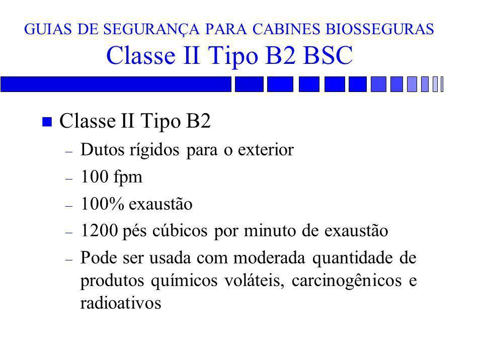 GUIAS DE SEGURANÇA PARA CABINES BIOSSEGURAS Classe II Tipo B2 BSC