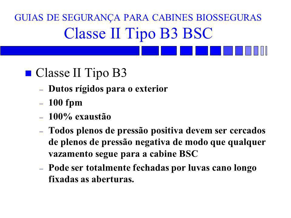 GUIAS DE SEGURANÇA PARA CABINES BIOSSEGURAS Classe II Tipo B3 BSC