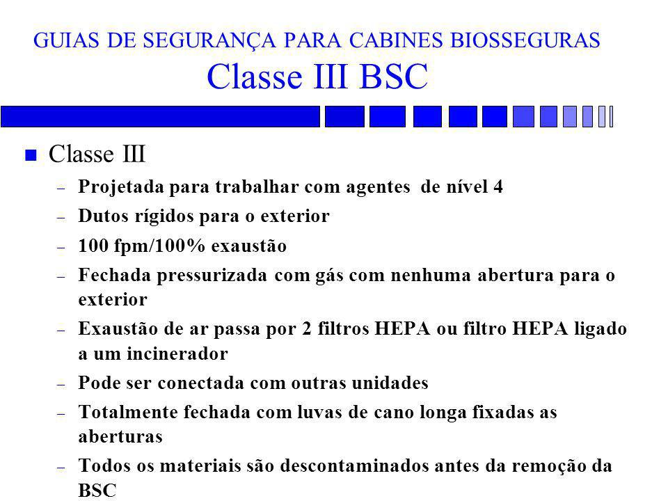 GUIAS DE SEGURANÇA PARA CABINES BIOSSEGURAS Classe III BSC