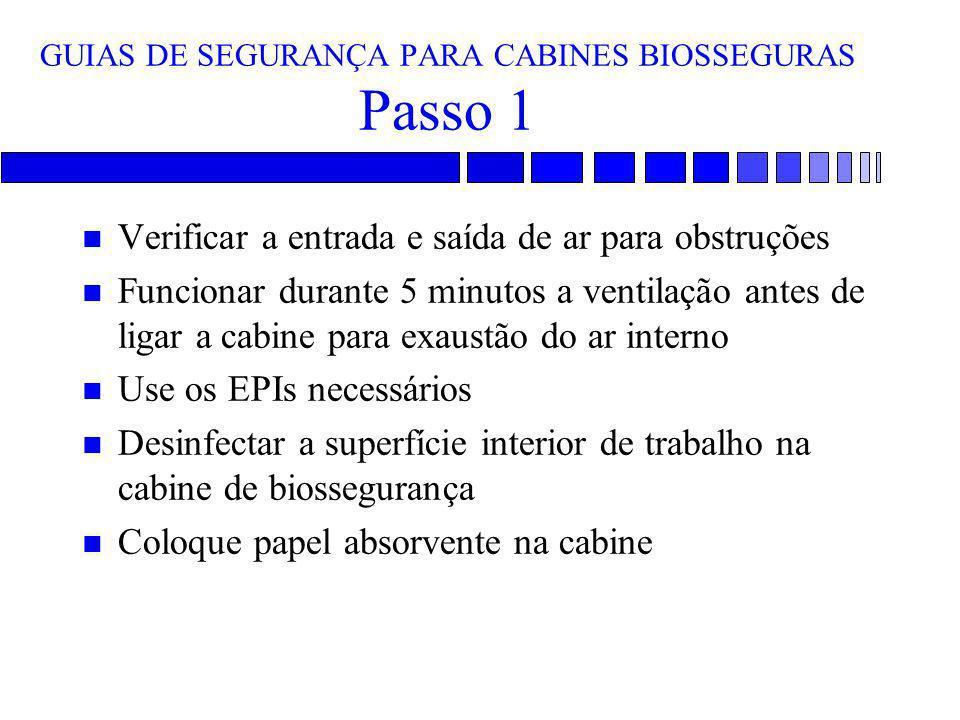 GUIAS DE SEGURANÇA PARA CABINES BIOSSEGURAS Passo 1