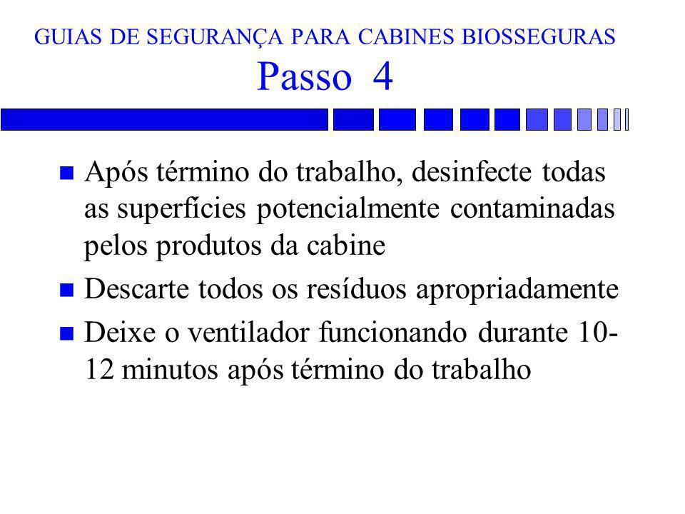 GUIAS DE SEGURANÇA PARA CABINES BIOSSEGURAS Passo 4