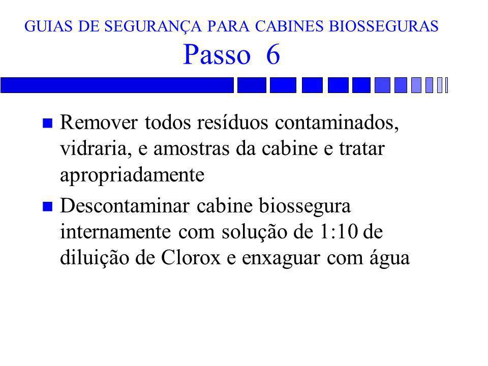 GUIAS DE SEGURANÇA PARA CABINES BIOSSEGURAS Passo 6