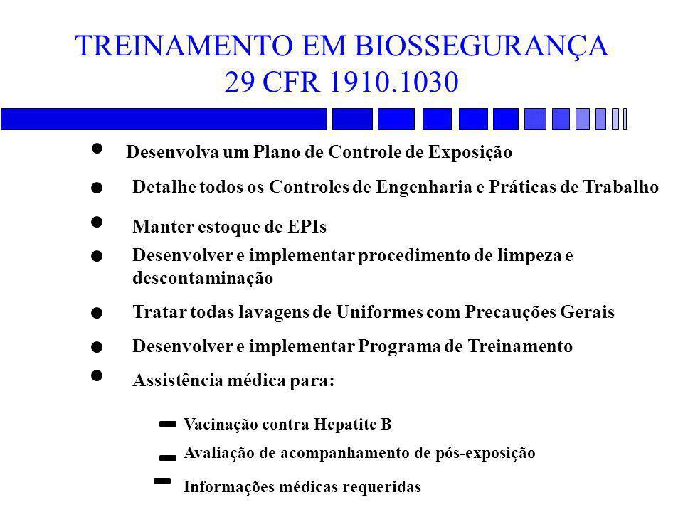 TREINAMENTO EM BIOSSEGURANÇA 29 CFR 1910.1030