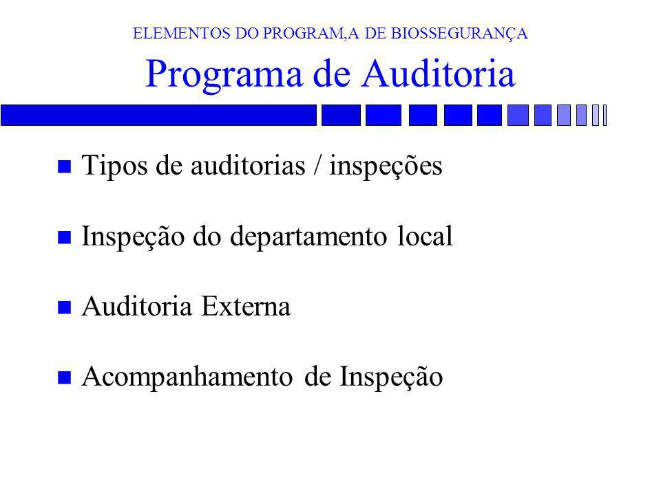 ELEMENTOS DO PROGRAM,A DE BIOSSEGURANÇA Programa de Auditoria
