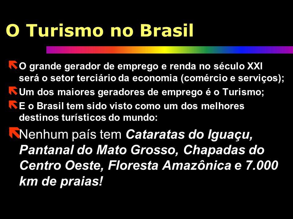 O Turismo no BrasilO grande gerador de emprego e renda no século XXI será o setor terciário da economia (comércio e serviços);
