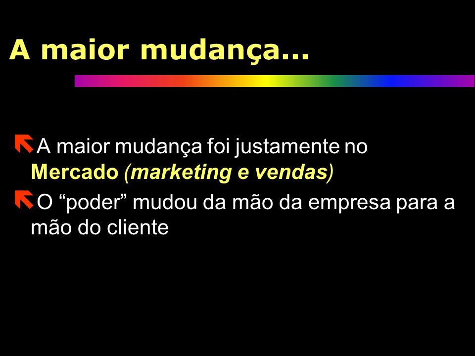 A maior mudança...A maior mudança foi justamente no Mercado (marketing e vendas) O poder mudou da mão da empresa para a mão do cliente.