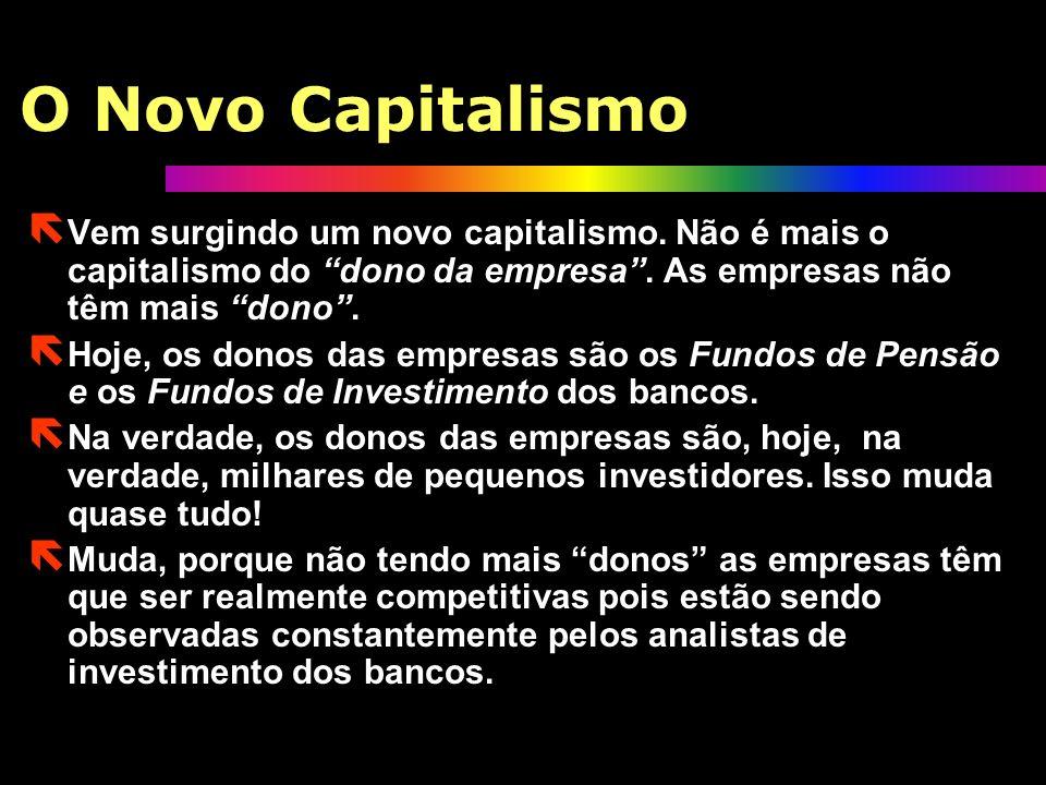 O Novo Capitalismo Vem surgindo um novo capitalismo. Não é mais o capitalismo do dono da empresa . As empresas não têm mais dono .